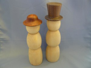 Mr and Mrs Snowman Pine with Walnut and Padauk