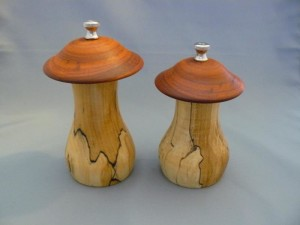 Spalted Maple and Padauk Salt and Pepper Mushrooms 6in
